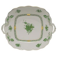 Herend Chinese Bouquet Green Square Cake Plate with Handles