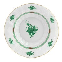 Herend Chinese Bouquet Green Rim Soup Bowl, Medium