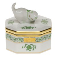 Herend Chinese Bouquet Green Cat Box