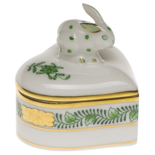 Chinese Bouquet Heart Bunny Box, Green