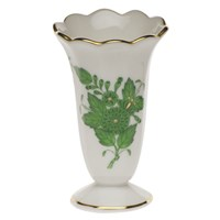Herend Chinese Bouquet Green Scalloped Bud Vase