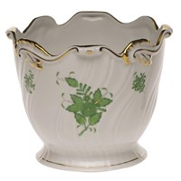 Herend Chinese Bouquet Green Ribbed Cachepot