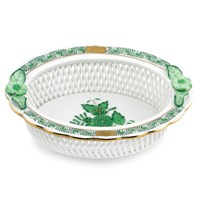 Herend Chinese Bouquet Green Openwork Basket, Oval