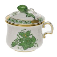 Herend Chinese Bouquet Green Pot de Creme with Berry Handle