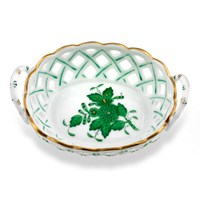 Herend Chinese Bouquet Green Openwork Basket with Handles