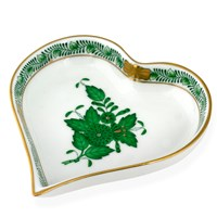 Herend Chinese Bouquet Green Heart Tray, Small