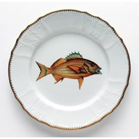 Anna Weatherley Antique Fish Dinner Plate, Gold / Blue Stripes