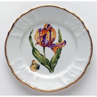 Anna Weatherley Old Master Tulips Salad Plate, Purple & Yellow