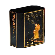 Chinoiserie Wastebasket in Black