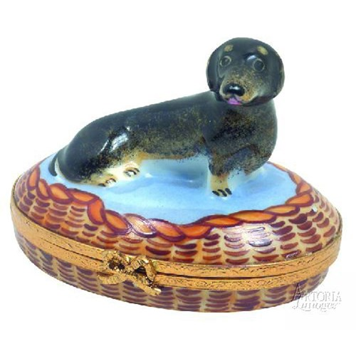 Black Dachshund Limoges Box