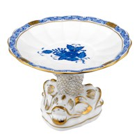 Herend Chinese Bouquet Blue Shell with Dolphin Stand