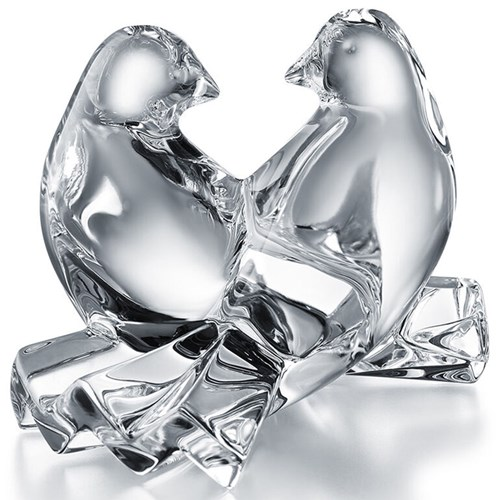 Baccarat Crystal Loving Doves, Clear