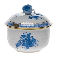Herend Chinese Bouquet Blue Covered Sugar Bowl, Small