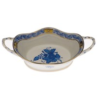 Herend Chinese Bouquet Blue Basket with Handles, Large