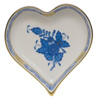 Herend Chinese Bouquet Blue Heart Tray, Small