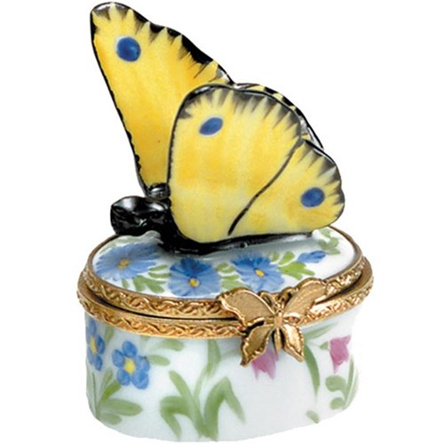 Blue Flowers & Yellow Butterfly Limoges Box