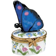 Blue Flowers Butterfly Limoges Boxes