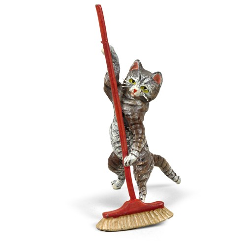 Austrian Bronze Cat with Broom Figurine