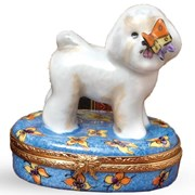 Bichon Frise with Butterfly Limoges Box