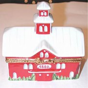 Big Red Barn with Cow Limoges Box