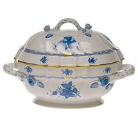 Herend Chinese Bouquet Blue Tureen with Branch Finial