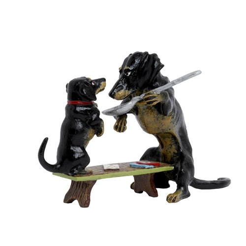 Austrian Bronze Feeding Dachshunds Figurine