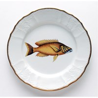Anna Weatherley Antique Fish Dinner Plate, Gold / Lavender