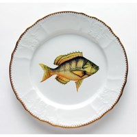 Anna Weatherley Antique Fish Dinner Plate, Gold / Aqua