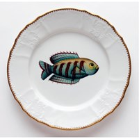 Anna Weatherley Antique Fish Dinner Plate, Aqua / Brown Stripes