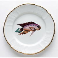 Anna Weatherley Antique Fish Dinner Plate, Orange / Lavender / Aqua
