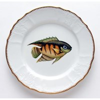 Anna Weatherley Antique Fish Dinner Plate, Green / Orange