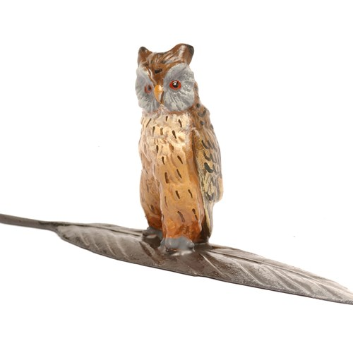 Austrian Bronze Owl on Feather Figurine