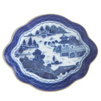 Mottahedeh Blue Canton Lobed Tray, Medium