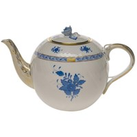 Herend Chinese Bouquet Blue Teapot with Rose Finial, Large