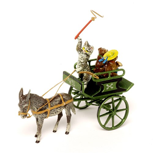 Austrian Bronze Cart with Cat & Pugs