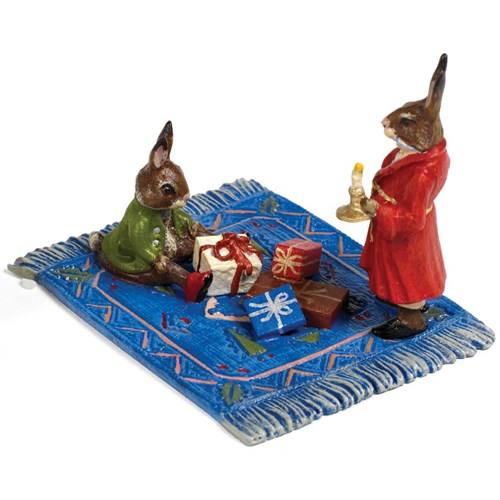 Austrian Bronze Rabbits on Carpet with Gifts