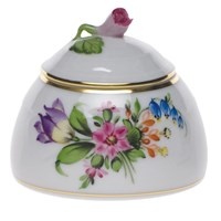 Herend Printemps Honey Pot with Rose Finial