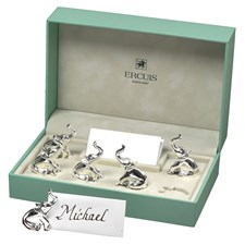 Ercuis Silverplated Elephant Place Card Holders, Set of 6