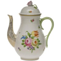 Herend Printemps Coffee Pot with Rose Finial, Large