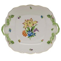 Herend Printemps Square Cake Plate with Handles