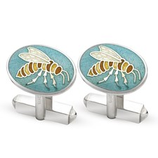 Sterling Silver Royal Enamel Wasp Cufflinks