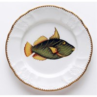 Anna Weatherley Antique Fish Salad Plate, Green / Yellow