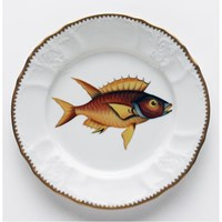 Anna Weatherley Antique Fish Salad Plate, Red / Yellow