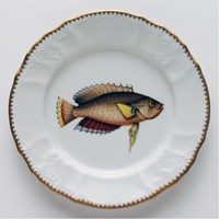 Anna Weatherley Antique Fish Salad Plate, Blue / Brown / Red