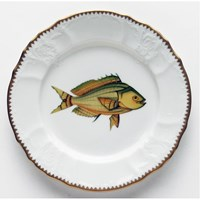 Anna Weatherley Antique Fish Salad Plate, Yellow / Aqua