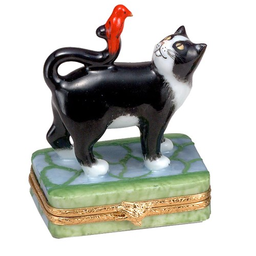Black Cat with Red Bird Limoges Box