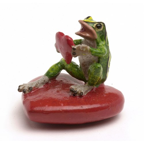 Austrian Bronze Frog on Heart with Heart Figurine