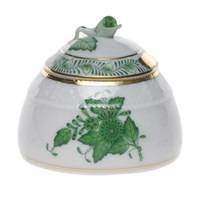 Herend Chinese Bouquet Green Honey Pot with Rose