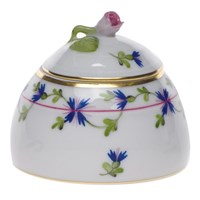 Herend Blue Garland Honey Pot with Rose
