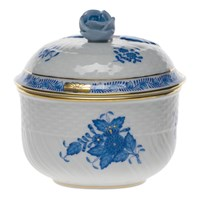 Herend Chinese Bouquet Blue Covered Sugar Bowl, Medium